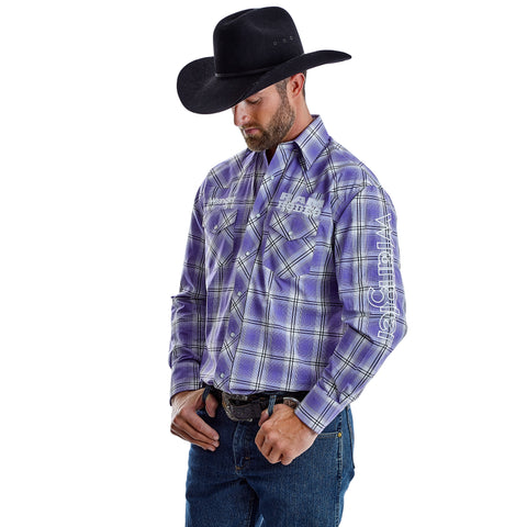 Wrangler Men's Big & Tall Logo Purple / White Plaid Long Sleeve Western Shirt - MP1322M
