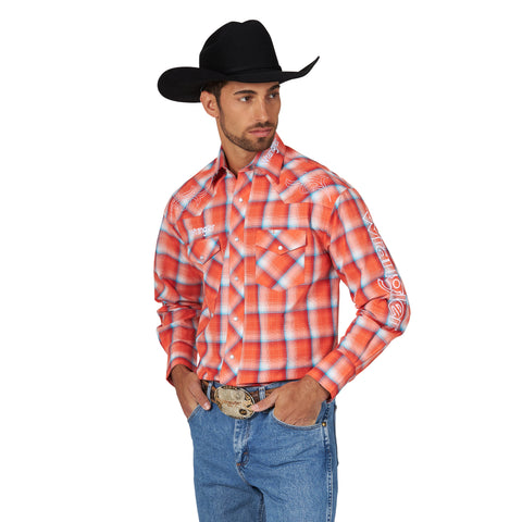 Wrangler Men's Logo Orange/Blue Plaid Long Sleeve Western Shirt - MP1323M