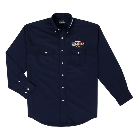 Wrangler Men's NFR Logo Navy Long Sleeve Western Shirt - MP2354N
