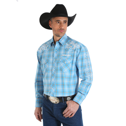 Wrangler Men's Logo Blue Plaid Long Sleeve Western Shirt - MP1297M