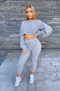 Strick Cropped Loungewear Set