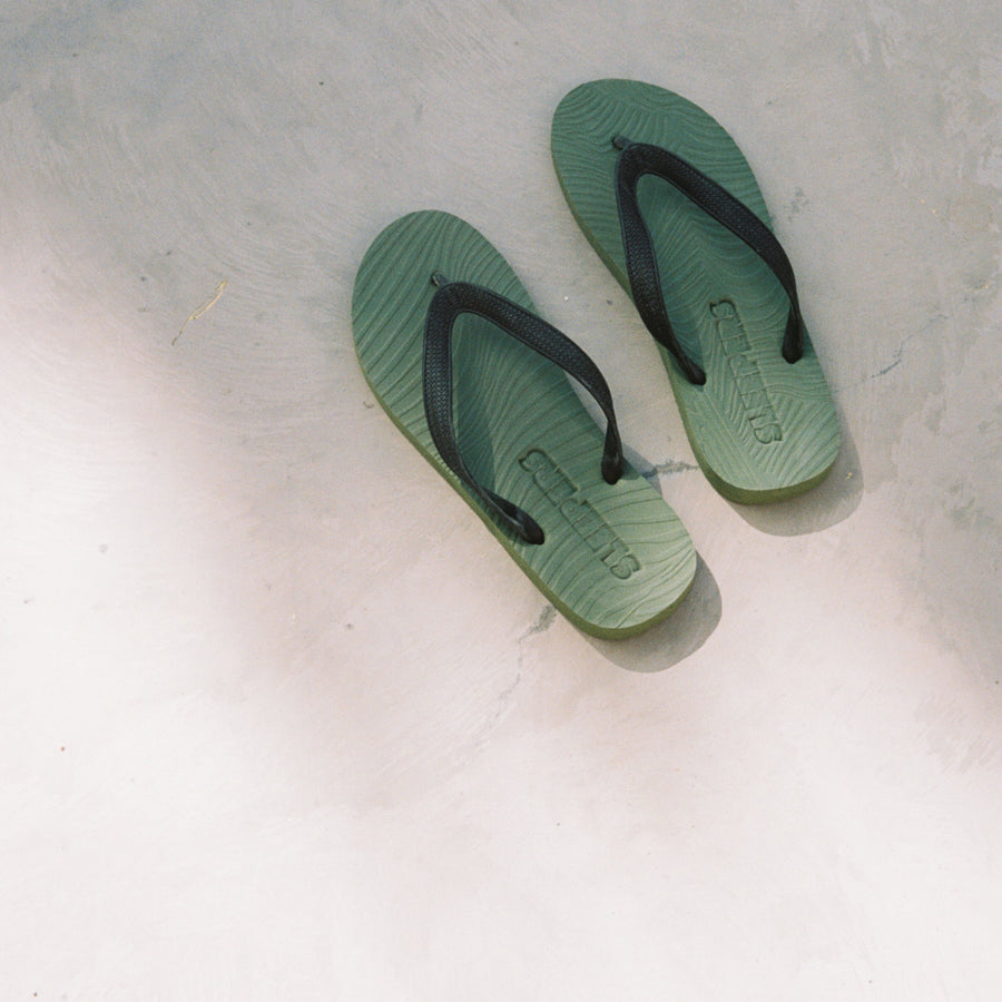 Mens Green Black Flip Flop