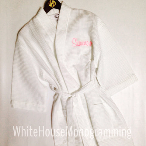 Personalized waffle weave robe