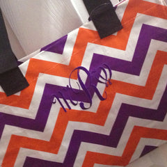 Chevron Tote Monogrammed Team Spirit Eco-totes - White House Monogramming  - 1