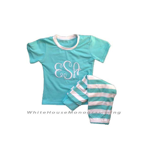 Short Sleeve 2 Piece Childrens Pajamas Striped