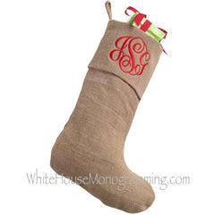 Burlap Christmas Stockings - White House Monogramming