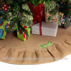 Burlap Christmas Tree Skirt- Back in Stock! - White House Monogramming
