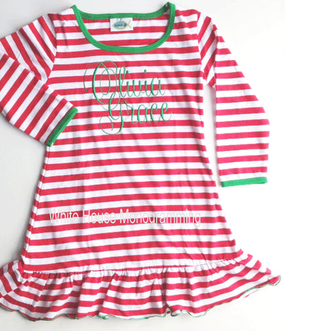 Children's Striped Christmas Night Gown