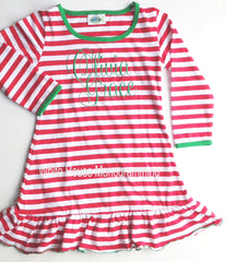 Children's Striped Christmas Night Gown - White House Monogramming  - 1