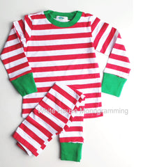 Children's Striped Christmas Pajamas - White House Monogramming - 1