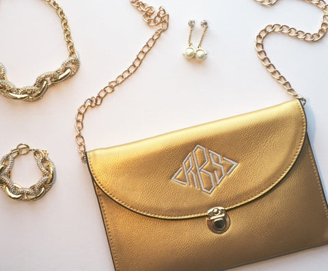 Deluxe Gold Envelope Clutch Purse Exclusive to White House Monogramming