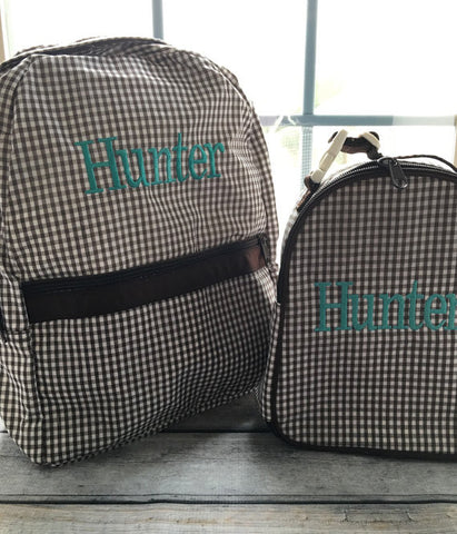 Personalized Gingham Medium Backpack