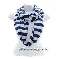 Striped Infinity Scarves - Lightweight - White House Monogramming  - 1