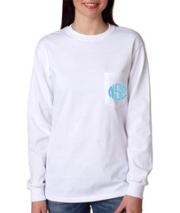 Long Sleeve Pocket Tee-5 Colors - White House Monogramming  - 1