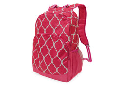 Pink Quatrefoil Backpack - White House Monogramming