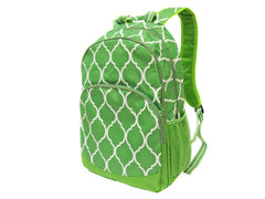 Quatrefoil Backpacks Lime/Turquoise - White House Monogramming  - 1