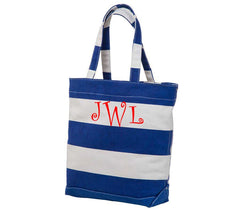 Rugby Striped Canvas Tote - White House Monogramming  - 1