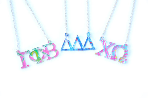 Greek Letter Acrylic Necklace