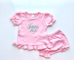Pink Ruffled Bloomer + Shirt Set | Baby's Bloomer Set | Personalized Baby Outfit