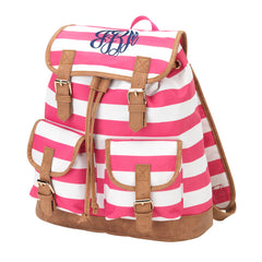 Pink Stripe Campus Backpack - White House Monogramming  - 1