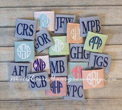 Seersucker Can Koozies-Asst. Colors - White House Monogramming  - 1