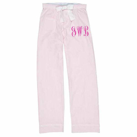 Seersucker Lounge Pants Monogrammed