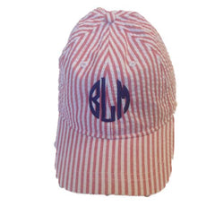 Seersucker Ball Caps - White House Monogramming  - 1
