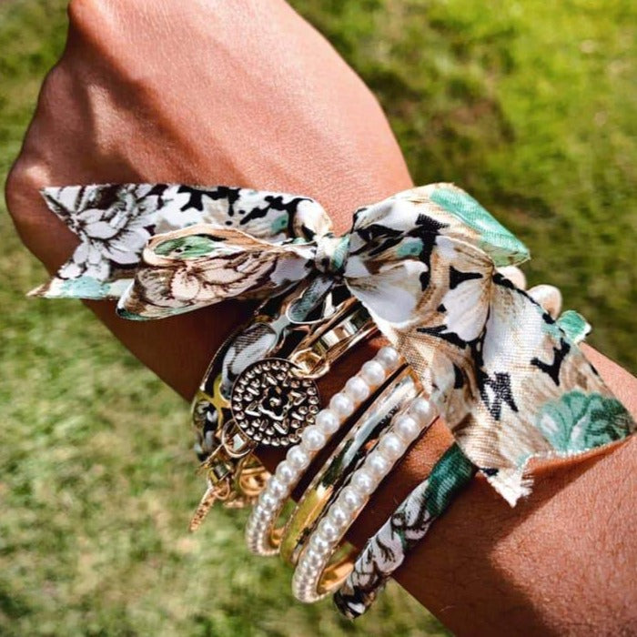 Ribbon Bangles: Green Camo