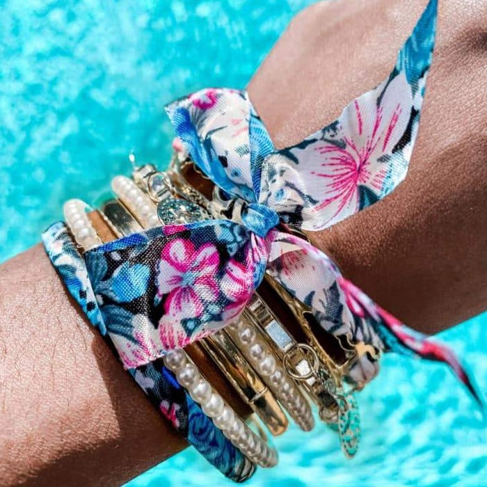 Summer Ribbon Bangles: Pink & Turquoise