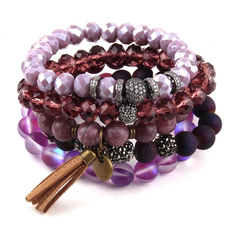 Deep Plum Bracelet Stack Set