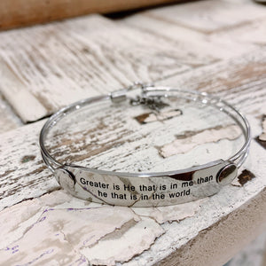 The War Room: Greater is He Scripture Bangle