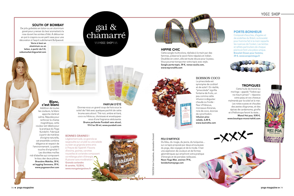 Yoga Mat Sling in Yoga Magazine France Issue 13 - 2017