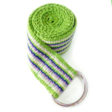 blue and green hand woven yoga strap