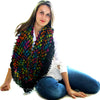 silk multicolor hand dyed scarf from india in crinkle finish