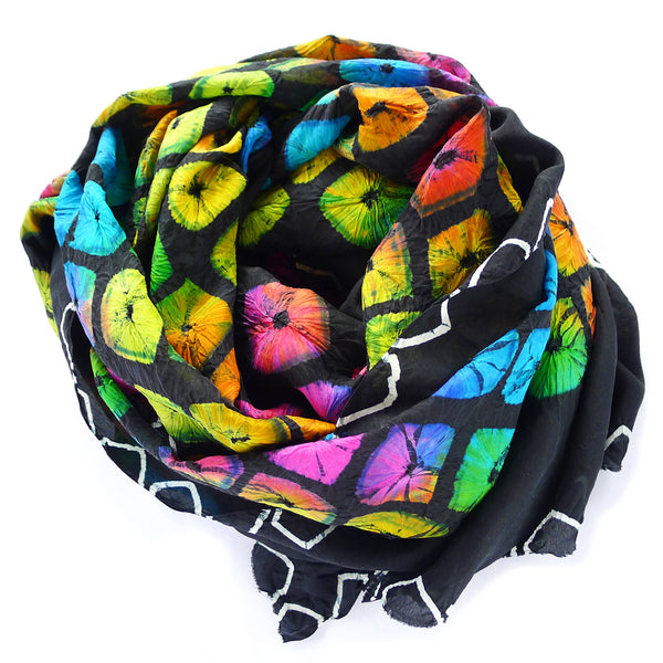 silk multicolor hand dyed scarf from india