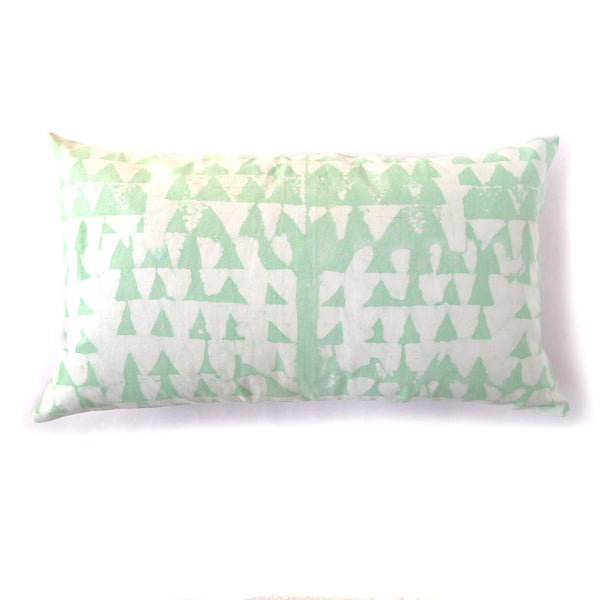 "Hand Batiked Terra Pillow - 12x22"" Bright Green"