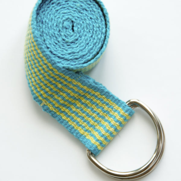 handmade yoga straps in turquoise yellow