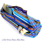 hand appliquéd yoga mat bag in blue