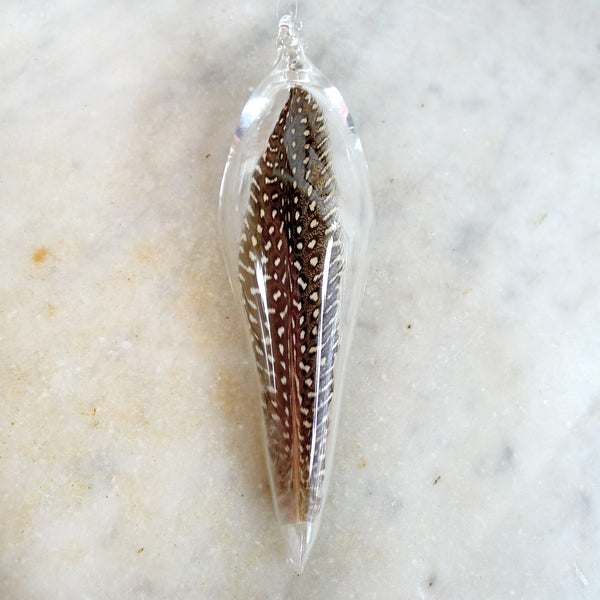 guinea hen feather glass orb - gift for yogi, yoga teacher