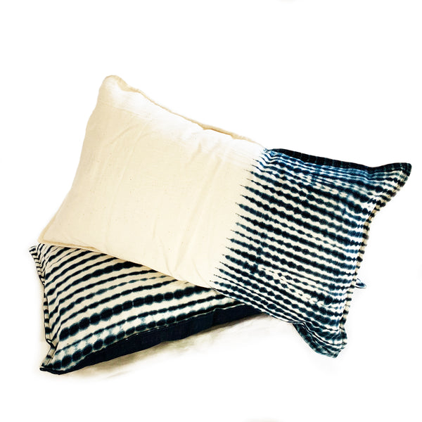 "Indigo Striped Shibori Pillows - 12""x22"""