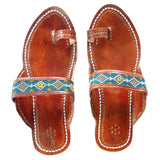 hand embroidered leather sandals in blue