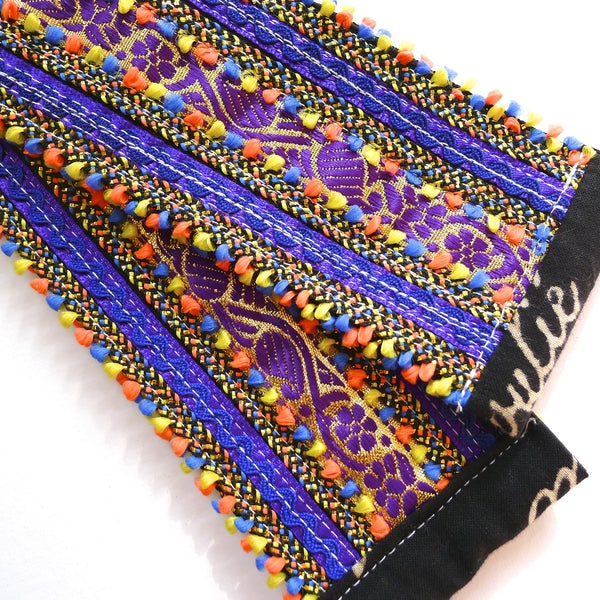 hand appliquéd yoga mat sling in dark purple
