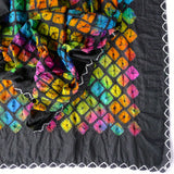 silk multicolor hand dyed scarf from india in smooth finish