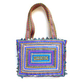 hand appliquéd handbag in blue