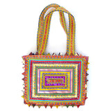 hand appliquéd handbag in multi