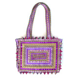 hand appliquéd handbag in purple