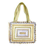 hand appliquéd handbag in white