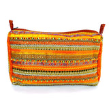 hand appliquéd clutch in orange