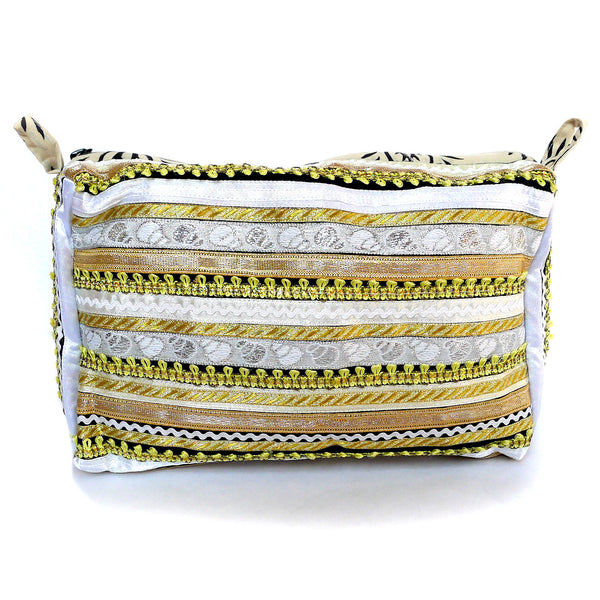 hand appliquéd clutch in white