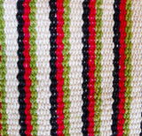 Yoga Bag - 1 Zip Style - Handwoven in White w/ Red, Black, Green Stripes - WINTER SALE